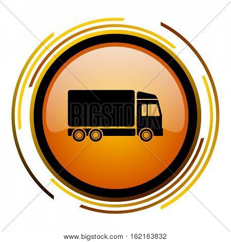 Delivery truck sign vector icon. Modern design round orange button isolated on white square background for web and application designers in eps10.