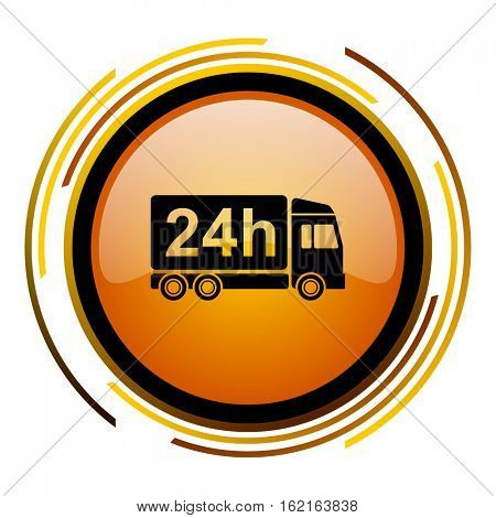 24 hours delivery truck sign vector icon. Modern design round orange button isolated on white square background for web and application designers in eps10.