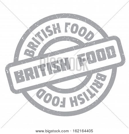 British Food rubber stamp. Grunge design with dust scratches. Effects can be easily removed for a clean, crisp look. Color is easily changed.