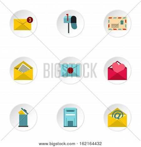Communication via internet icons set. Flat illustration of 9 communication via internet vector icons for web