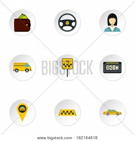 Taxi custom icons set. Flat illustration of 9 taxi custom vector icons for web