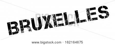 Bruxelles rubber stamp. Grunge design with dust scratches. Effects can be easily removed for a clean, crisp look. Color is easily changed.