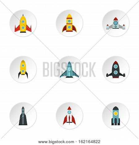 Flight in cosmo icons set. Flat illustration of 9 flight in cosmo vector icons for web