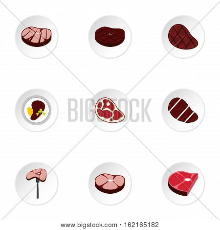 Kind of beef icons set. Flat illustration of 9 kind of beef vector icons for web