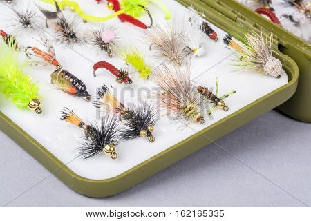 Fishing Tackle Box Filled with Small Hand Tied Flies