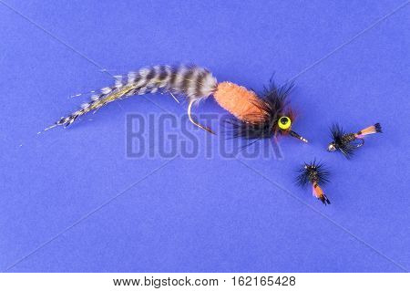 Arrangement of Fishing Flies of Various Sizes on Purple Background