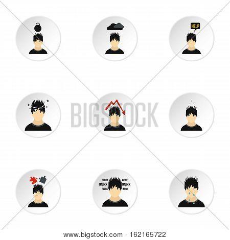 Emotional feelings icons set. Flat illustration of 9 emotional feelings vector icons for web