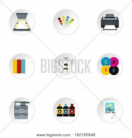 Printing services icons set. Flat illustration of 9 printing services vector icons for web