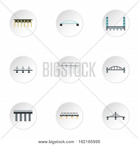 Crossing river icons set. Flat illustration of 9 crossing river vector icons for web