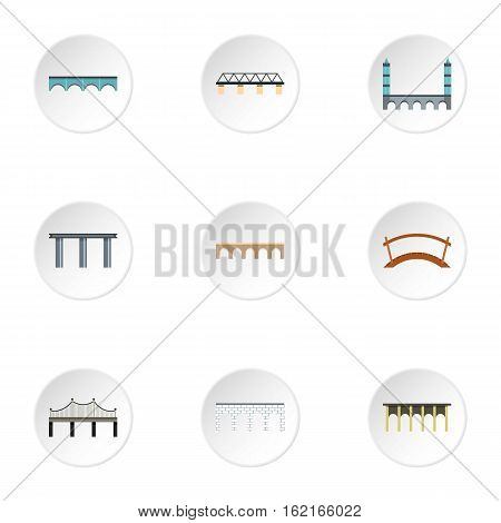 Types of bridges icons set. Flat illustration of 9 types of bridges vector icons for web