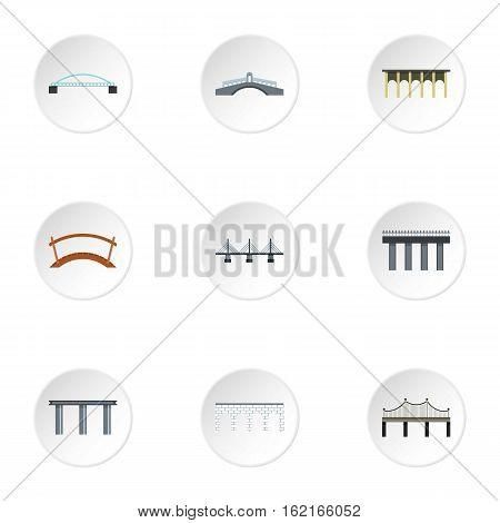 Bridge transition icons set. Flat illustration of 9 bridge transitions vector icons for web