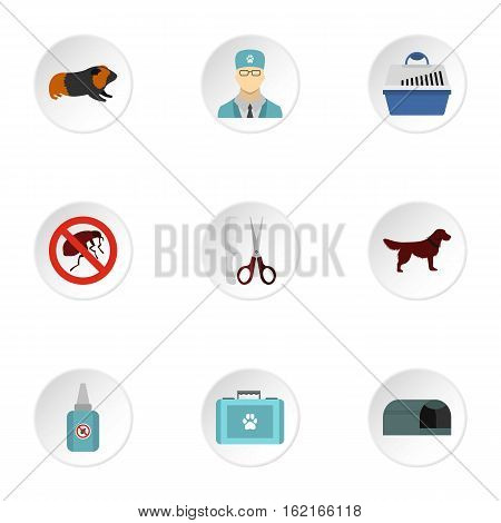 Veterinarian icons set. Flat illustration of 9 veterinarian vector icons for web