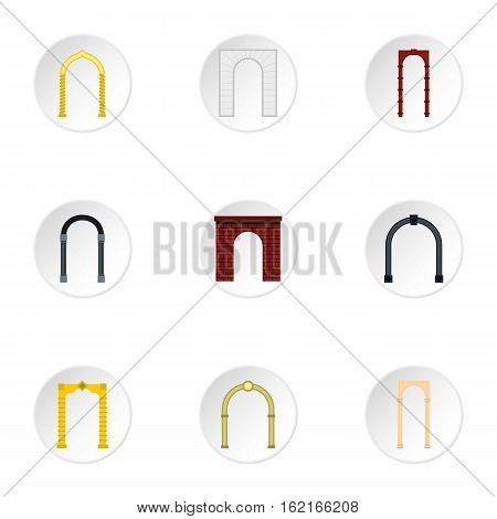 Different arches icons set. Flat illustration of 9 different arches vector icons for web