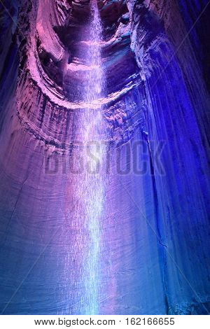 CHATTANOOGA, TN - OCT 4: Ruby Falls in Chattanooga, Tennessee, as seen on Oct 4, 2016. It is a 145-foot high underground waterfall located within Lookout Mountain.