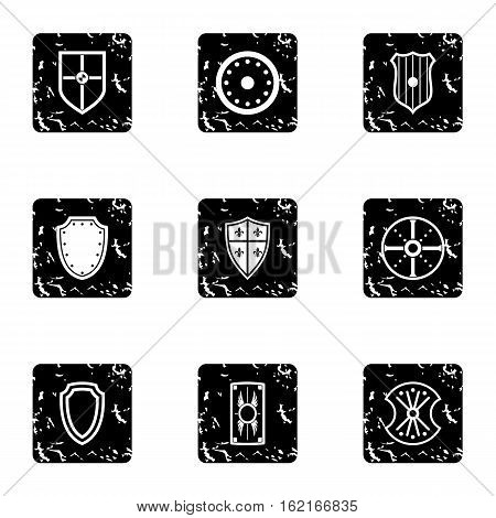 Army shield icons set. Grunge illustration of 9 army shield vector icons for web