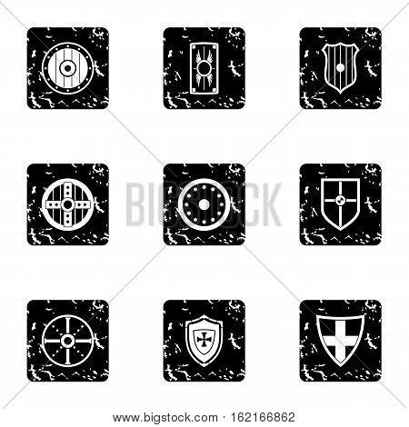 Protective shield icons set. Grunge illustration of 9 protective shield vector icons for web
