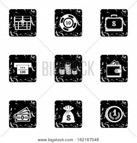 Monetary resource icons set. Grunge illustration of 9 monetary resource vector icons for web