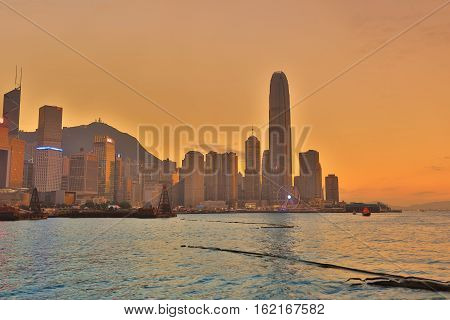 Central business district in Hong Kong at 2016