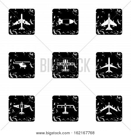 Combat aircraft icons set. Grunge illustration of 9 combat aircraft vector icons for web