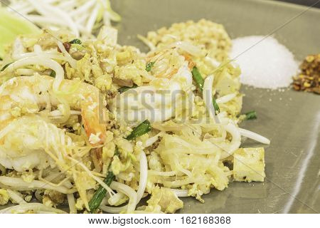 Thai food Pad thai Stir fry noodles in padthai style.