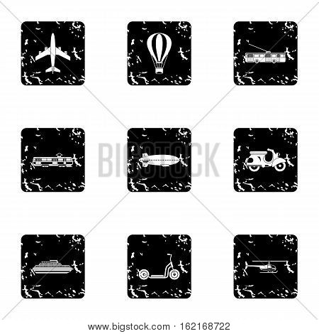 Trip on transport icons set. Grunge illustration of 9 trip on transport vector icons for web