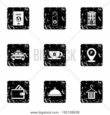 Staying in hotel icons set. Grunge illustration of 9 staying in hotel vector icons for web