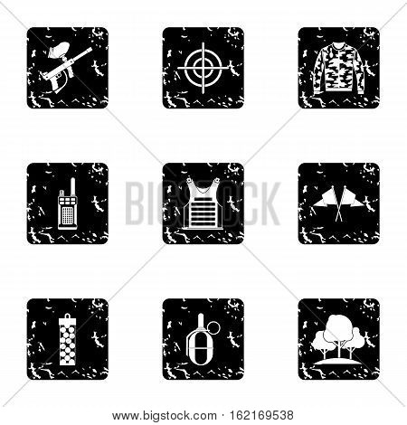 Competition paintball icons set. Grunge illustration of 9 competition paintball vector icons for web