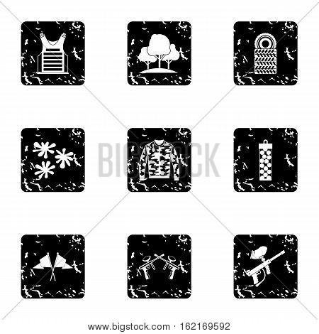 Shooting paintball icons set. Grunge illustration of 9 shooting paintball vector icons for web