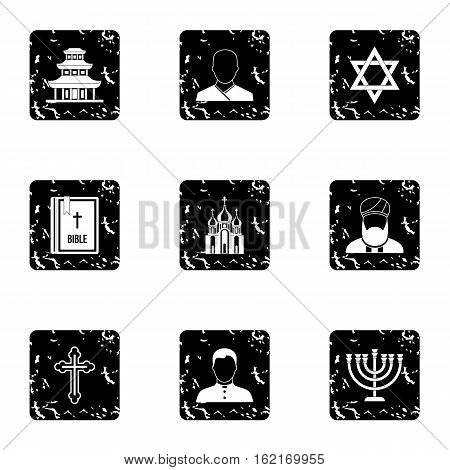 Beliefs icons set. Grunge illustration of 9 beliefs vector icons for web