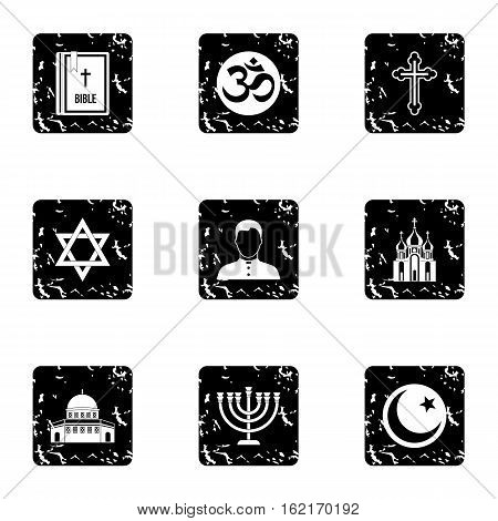 Religion icons set. Grunge illustration of 9 religion vector icons for web