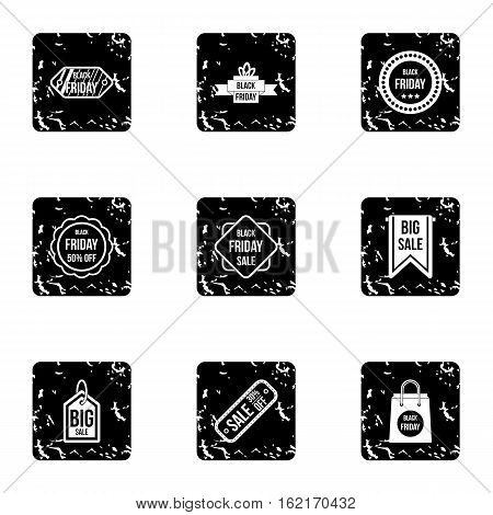 Large discounts icons set. Grunge illustration of 9 large discounts vector icons for web