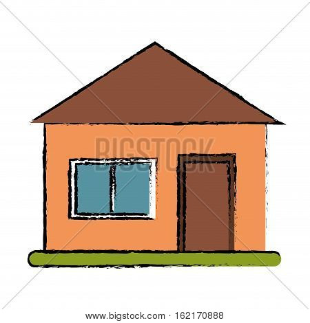 drawing house suburban architecture green grass vector illustration eps 10