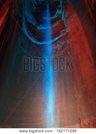 CHATTANOOGA, TN - OCT 4; Ruby Falls in Chattanooga, Tennessee, as seen on Oct 4, 2016. It is a 145-foot high underground waterfall located within Lookout Mountain