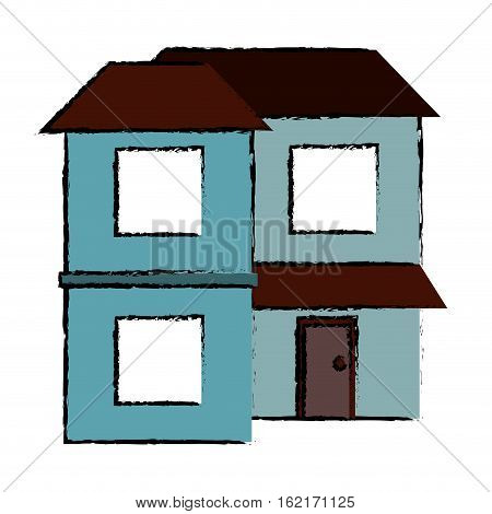 drawing blue home two floor out windows brown roof vector illustration eps 10
