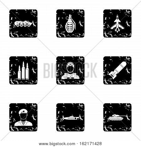 War icons set. Grunge illustration of 9 war vector icons for web