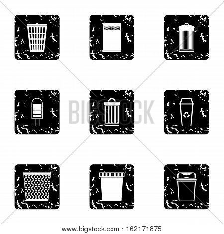 Bin icons set. Grunge illustration of 9 bin vector icons for web