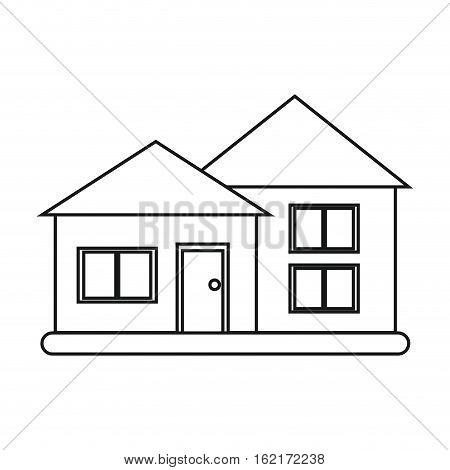 house suburban architecture green grass outline vector illustration eps 10