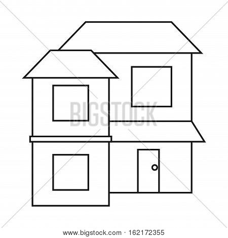 home two floor out windows brown roof outline vector illustration eps 10