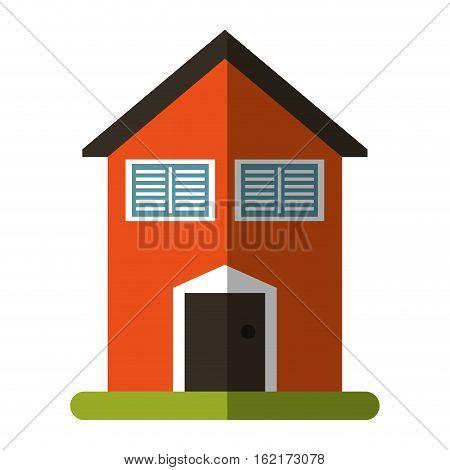 orange house garden blinds windows vector illustration eps 10