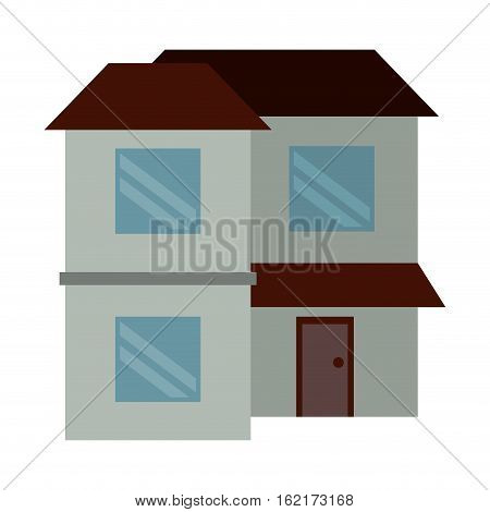 home two floor out windows brown roof vector illustration eps 10