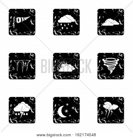 Weather icons set. Grunge illustration of 9 weather vector icons for web
