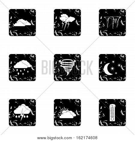Type of weather icons set. Grunge illustration of 9 type of weather vector icons for web