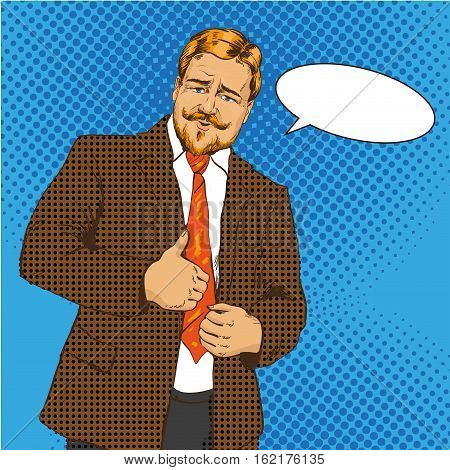 Vector illustration of man, businessman with thumb up hand sign in retro pop art comic style. Gesture of approval. Speech bubble.
