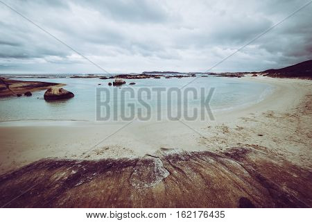 Beach Torndirrup National Park Albany Australia.vintage toning filter add .