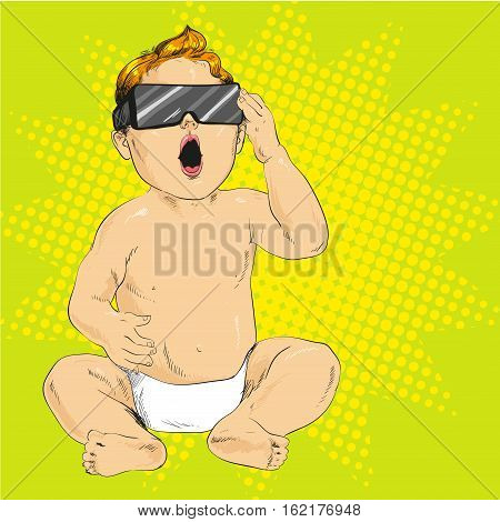 Vector illustration of little baby in 3d anaglyph glasses with opened mouth in retro pop art comic style. Stereo glasses for cinema.