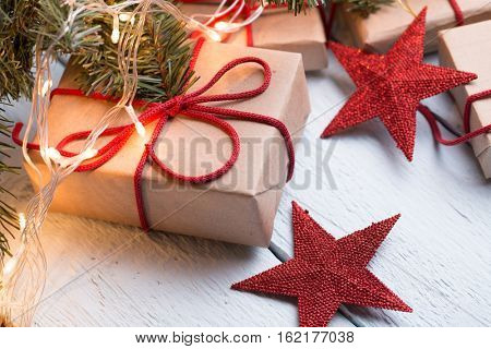 Presents, red stars ,spruce branch