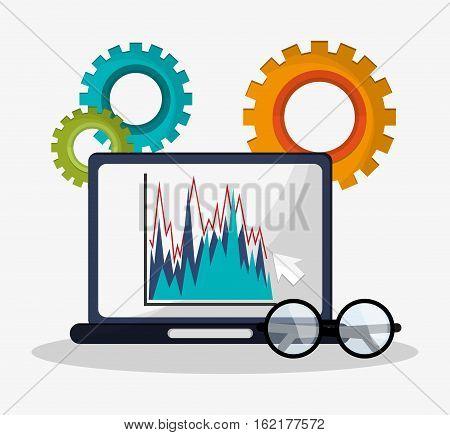 laptop graph statistics financial gears business glasses vector illustration eps 10