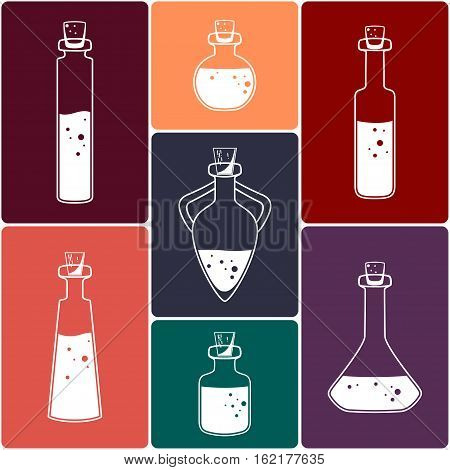 Set of Magic Potions. Isolated Vector Illustration.