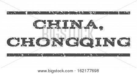 China, Chongqing watermark stamp. Text tag between horizontal parallel lines with grunge design style. Rubber seal stamp with dirty texture. Vector gray color ink imprint on a white background.