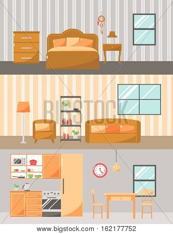 Set of Colorful Room Interiors with Furniture Icons: Living Room Bedroom Kitchen.